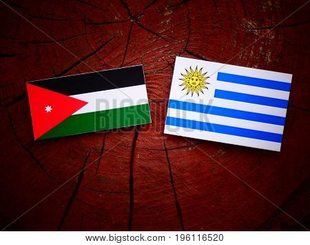 Jordanian Flag With Uruguaian Flag On A Tree Stump Isolated