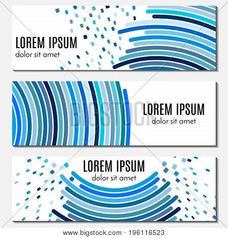 Set of blue abstract header banners with curved lines and flying pieces and place for text. Vector backgrounds for web design.