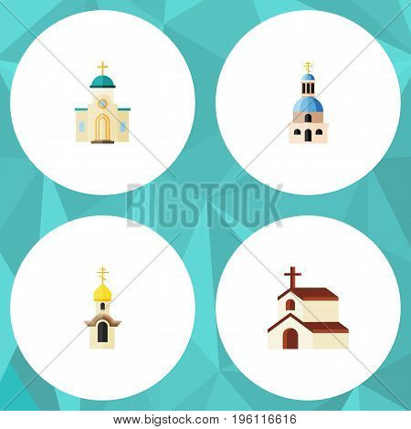 Flat Icon Building Set Of Structure, Church, Religious And Other Vector Objects