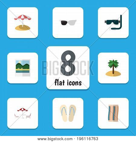 Flat Icon Season Set Of Beach Sandals , Recliner, Parasol Vector Objects