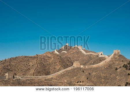 The Great wall of China, landscape. Famous place in Asia.