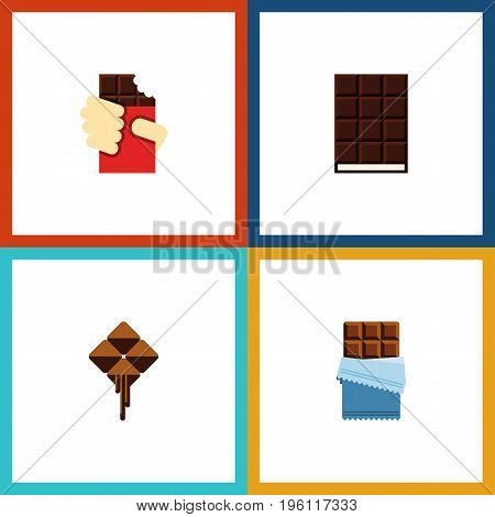 Flat Icon Cacao Set Of Shaped Box, Bitter, Delicious And Other Vector Objects