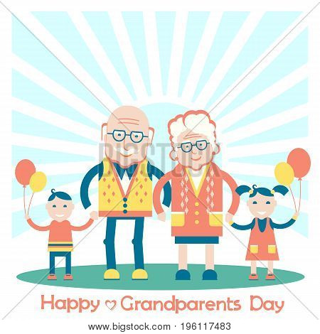 Grandparents with grandchildren and sun.Vector family color illustration