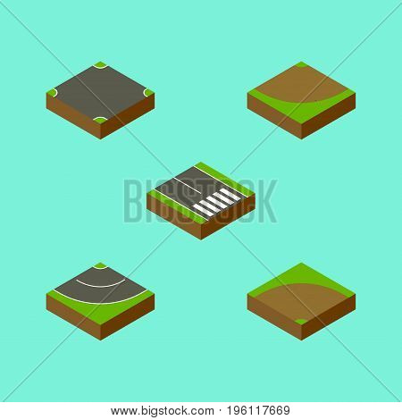 Isometric Way Set Of Turn , Sand, Pedestrian Vector Objects