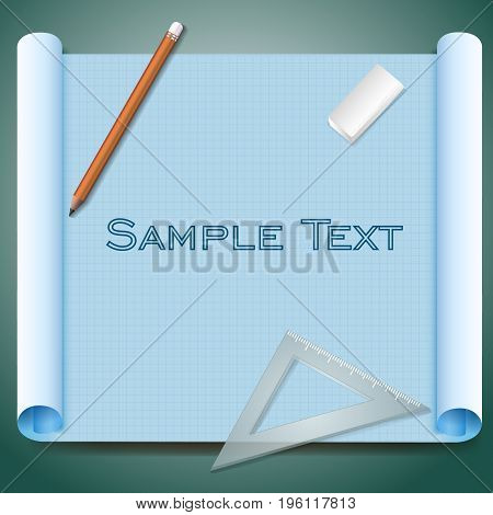 Architect squared paper with sample text pen eraser and triangular ruler on green background realistic vector illustration