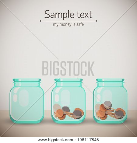 Two money glass jars with coins and one empty on beige surface background with sample text flat vector illustration