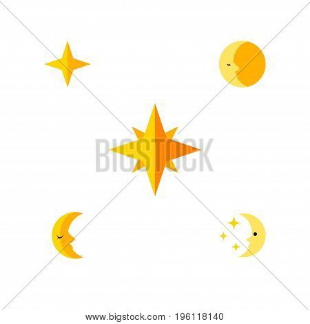 Flat Icon Night Set Of Lunar, Nighttime, Moon And Other Vector Objects