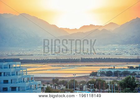 Sunset in the middle east hotels eilat Jordan