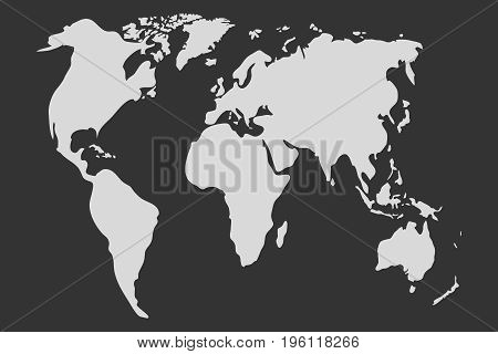 World map in gray world map icon. Flat design vector illustration vector.