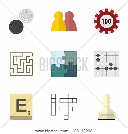 Flat Icon Entertainment Set Of Poker, Jigsaw, Chequer And Other Vector Objects