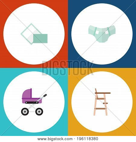 Flat Icon Kid Set Of Child Chair, Stroller, Nappy And Other Vector Objects