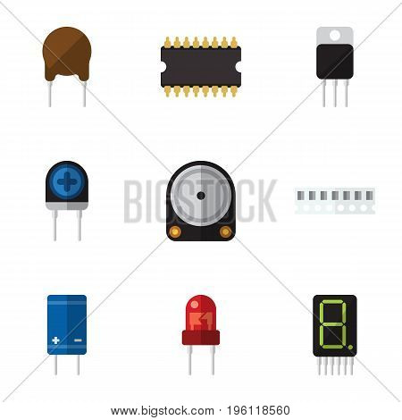 Flat Icon Electronics Set Of Triode, Memory, Display And Other Vector Objects