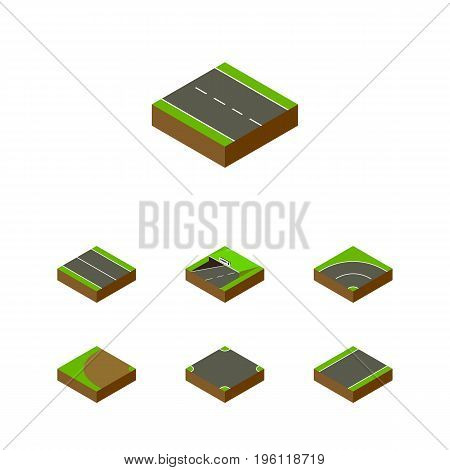 Isometric Way Set Of Single-Lane, Turning, Subway And Other Vector Objects