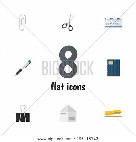 Flat Icon Stationery Set Of Paper Clip, Fastener Page, Copybook And Other Vector Objects