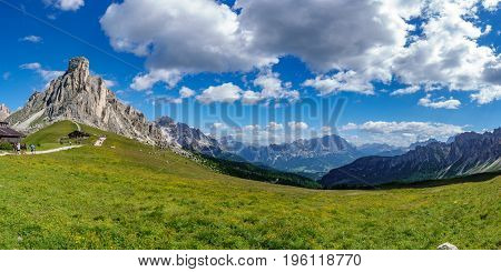 Panoramic view of top of Giau Pass in Dolomites, Italy