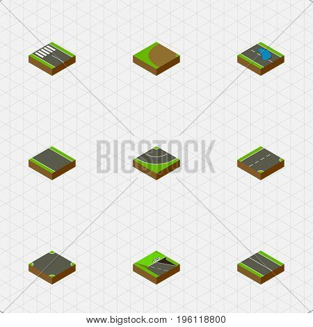 Isometric Way Set Of Plash, Down, Road And Other Vector Objects