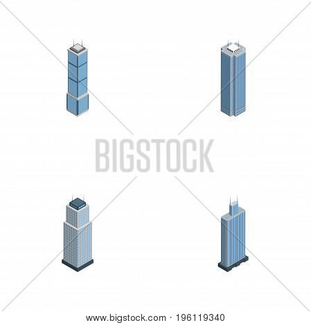 Isometric Skyscraper Set Of Business Center, Tower, Skyscraper And Other Vector Objects