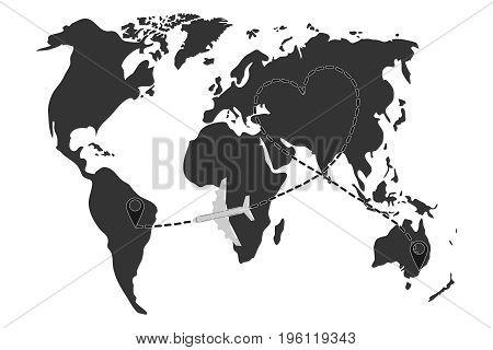 Air flight between cities map of airline flights. Flat design vector illustration vector.