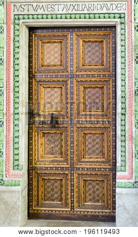BARDEJO|V SLOVAKIA - MAY 13: Historic doors in Town hall in Unesco town Bardejov on May 13 2017 in Bardejov