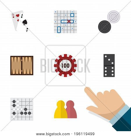 Flat Icon Games Set Of Ace, Chequer, Sea Fight And Other Vector Objects