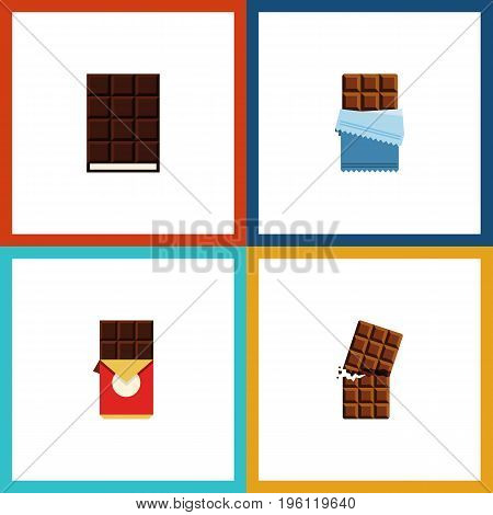 Flat Icon Cacao Set Of Chocolate Bar, Bitter, Wrapper And Other Vector Objects