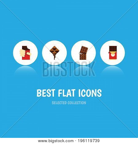 Flat Icon Sweet Set Of Delicious, Chocolate Bar, Wrapper And Other Vector Objects