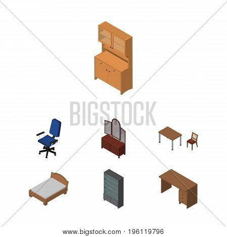 Isometric Design Set Of Cupboard, Office, Sideboard And Other Vector Objects