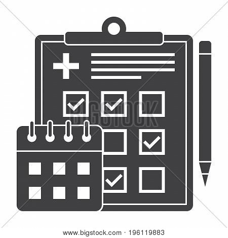 Appointment scheduler concept with document, calendar and pencil, vector silhouette