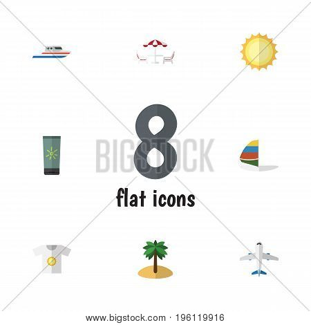 Flat Icon Season Set Of Coconut, Recliner, Moisturizer And Other Vector Objects