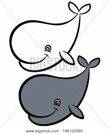Cartoon hand drawn vector illustration of whale