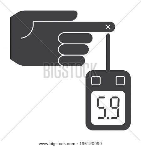Diabetes concept with glucometer measures blood sugar level, vector silhouette