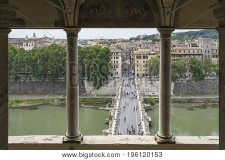 Bridge Saint Angelo. View from the Mausoleum of Hadrian or Castel Saint Angelo. Rome. Italy. June 2017