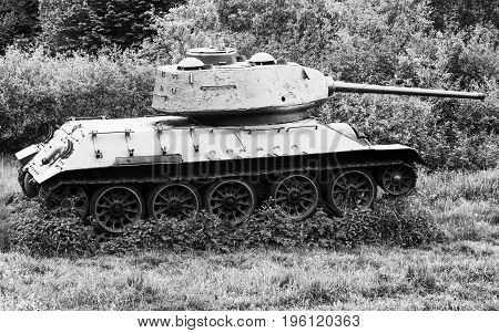Soviet tank T-34 in Valley of death - Dukla paas from World War II in Svidnik Slovakia, Black and white photography