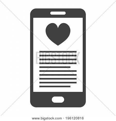 mHealth concept with smartphone and red heart, vector silhouette
