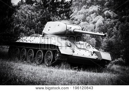 Soviet tank T-34 in Valley of death - Dukla paas from World War II in Svidnik Slovakia. Black and white photography
