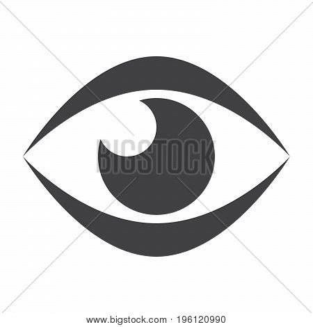 Ophthalmology concept with eye, vector black silhouette