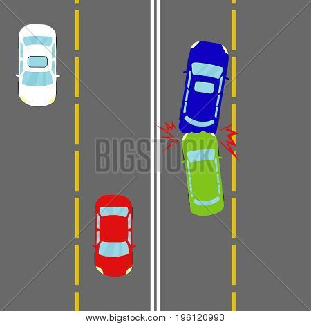 A car accident an accident on the road. Two cars collided. Flat design vector illustration vector.