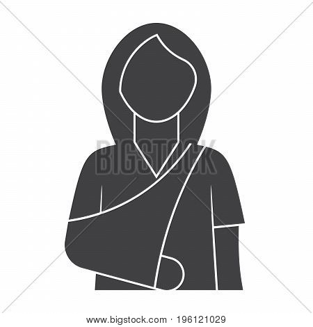 Woman with broken arm for orthopedics concept, vector silhouette