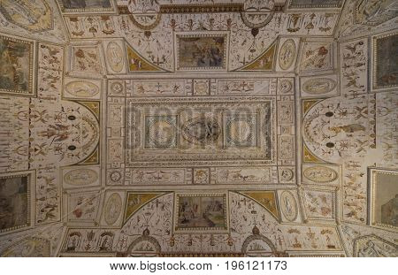 Castle Saint Angelo. Interior. Overlooking the ceiling. Rome. Italy. June 2017