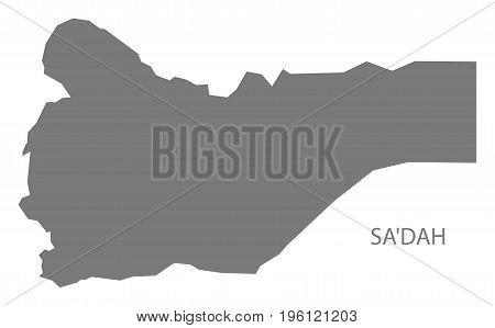 Sadah Yemen Governorate Map Grey Illustration Silhouette Shape