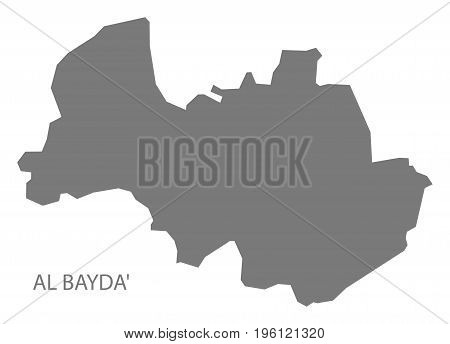 Al Bayda Yemen Governorate Map Grey Illustration Silhouette Shape