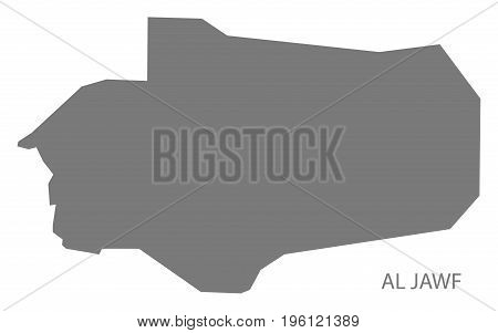 Al Jawf Yemen Governorate Map Grey Illustration Silhouette Shape