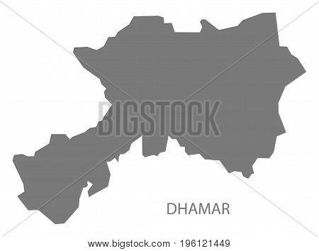 Dhamar Yemen Governorate Map Grey Illustration Silhouette Shape