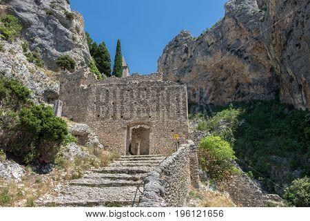 Stairway to Notre Dame de Beauvoir chapel. Moustiers Sainte-Marie Provence France