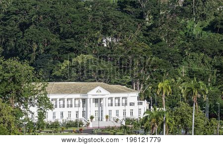 The white Commonwealth of Dominica Government Building