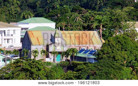 A Rusty Green Roof on Dominica Church