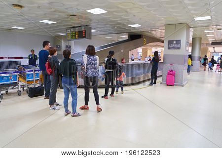 SEOUL, SOUTH KOREA - CIRCA MAY, 2017: baggage claim area at Gimpo Airport Domestic Terminal. Gimpo International Airport is located in the far western end of Seoul.