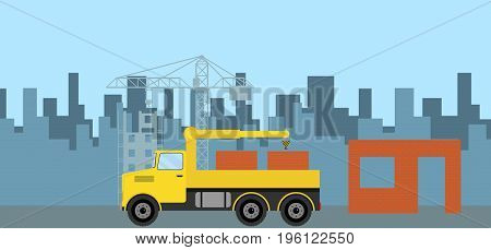 The truck brought a brick to the construction site. Truck with a brick. Flat design vector illustration vector