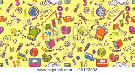 Back to school seamless colorfull vector pattern with Doodle drawings. Good for textile fabric design, wrapping paper and educational website wallpapers and tile banners. Vector sketch illustration