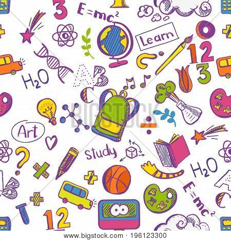 Back to school seamless colorfull vector pattern with Doodle drawings. Good for textile fabric design, wrapping paper and educational website wallpapers and tile banners. Vector illustration